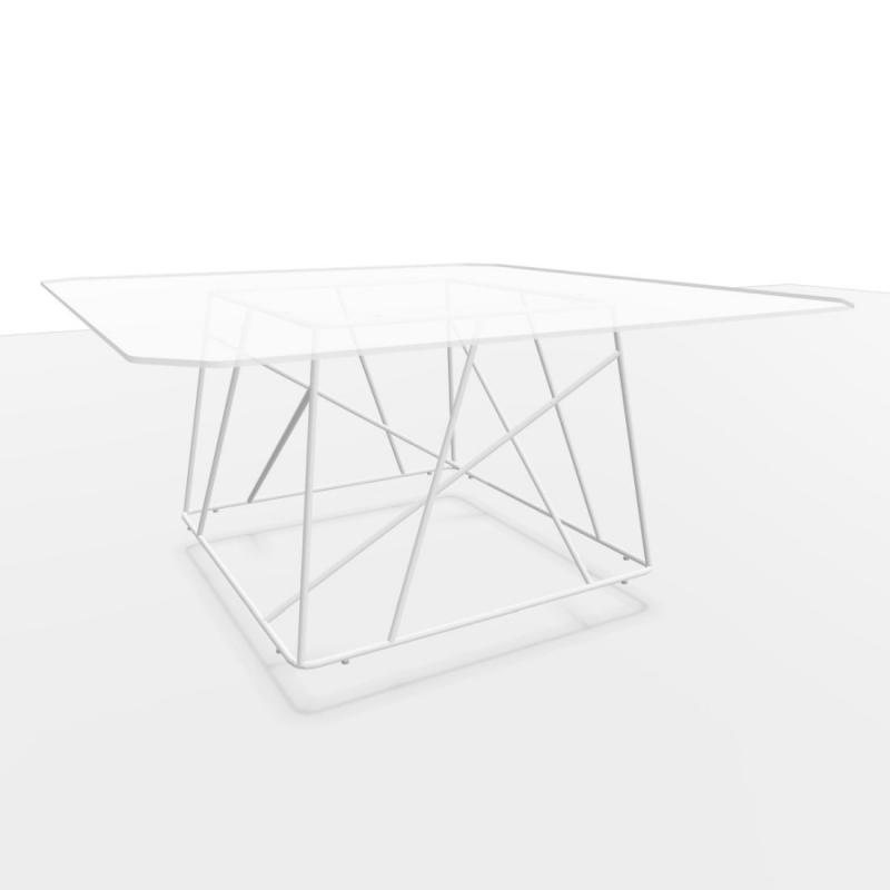 CE Meeting Table, 160x160cm, Glass Top / White Base