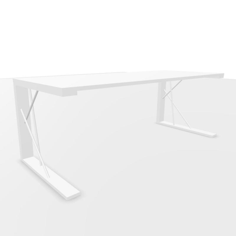 CE Desk, 200x80cm, White Laminate Top / White Base