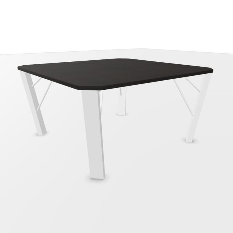 CE Meeting Table, 140x140cm, Brown Laminate Top / White Base