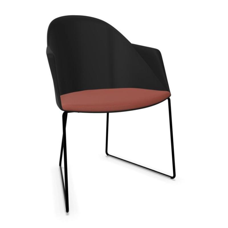 Cila Armchair, Black Shell With Red Seatpad / Black Sled Base