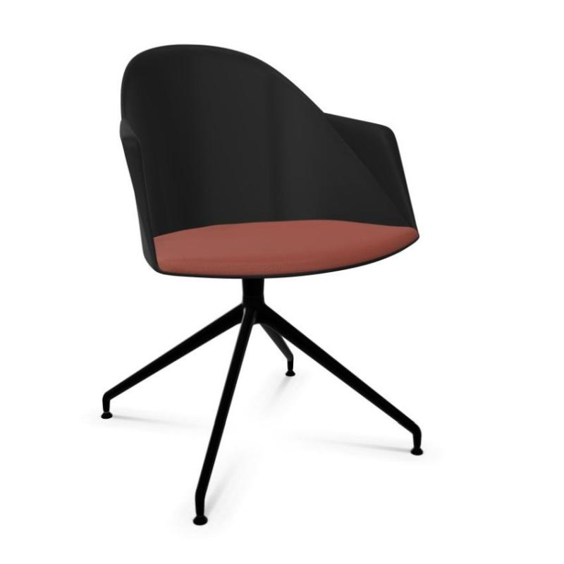 Cila Armchair, Black Shell With Red Seatpad / Black Swivel Base