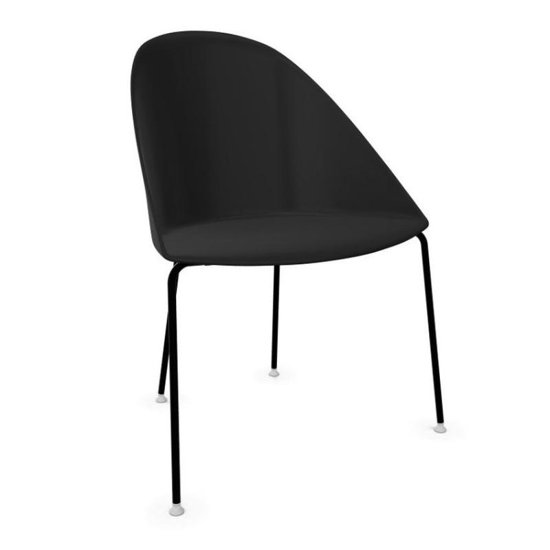 Cila Chair, Black Shell / Black Tube Base