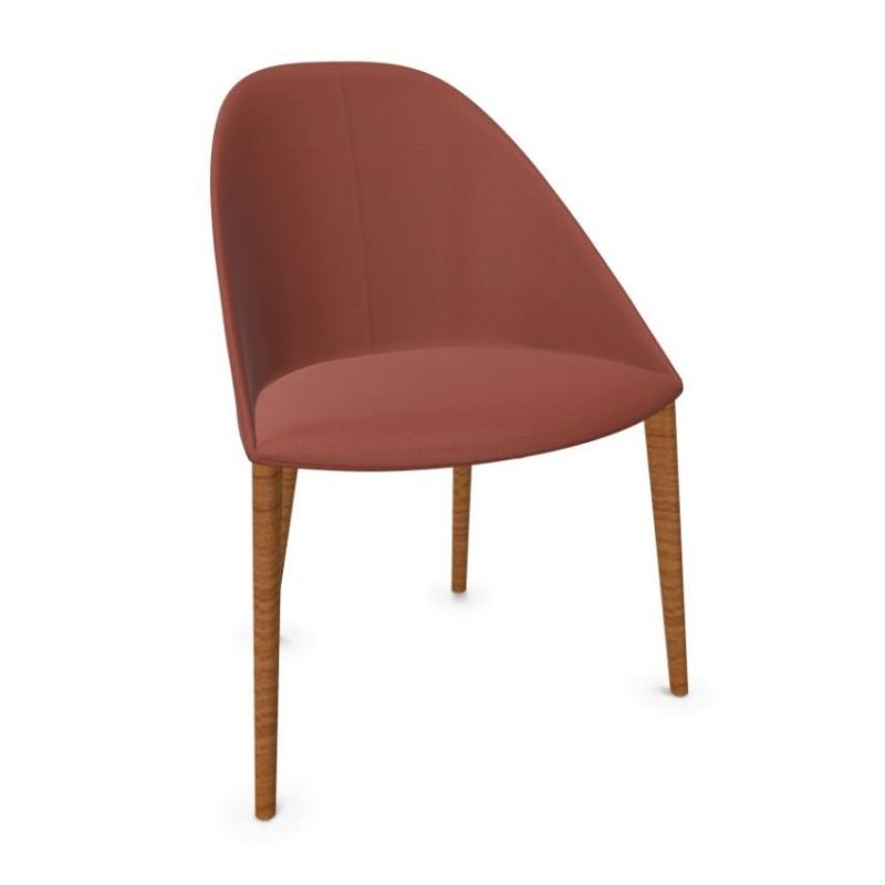 Cila Chair, Red Upholstery / Wooden Legs