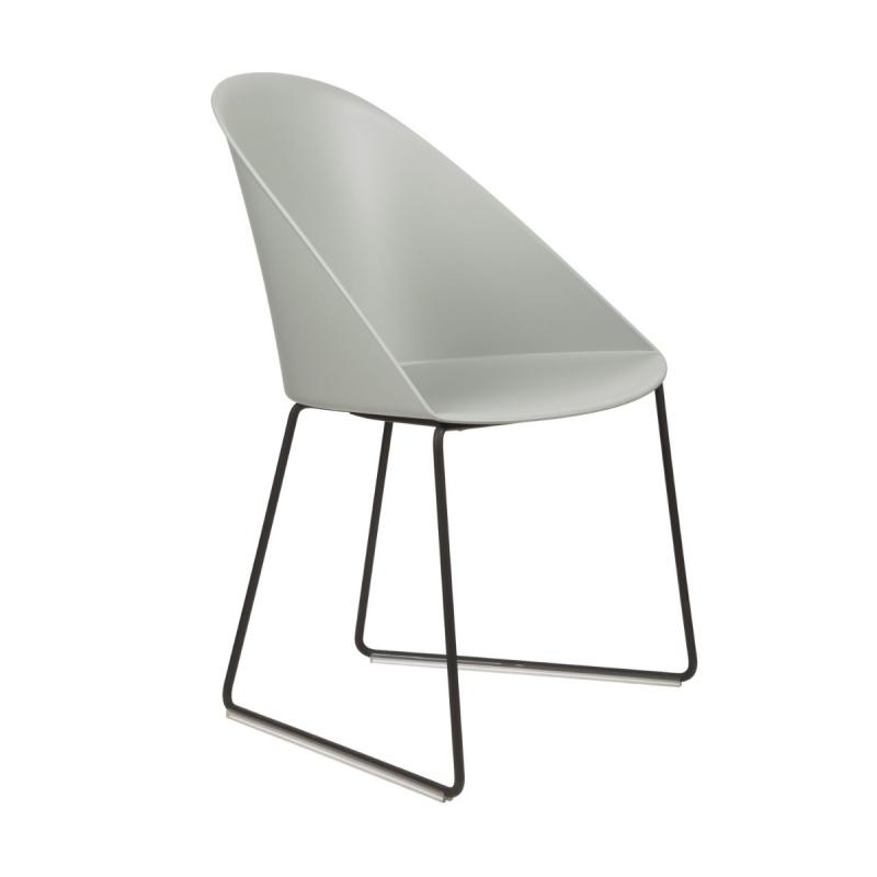 Cila Chair, Clear Blue Shell / Black Sled Base