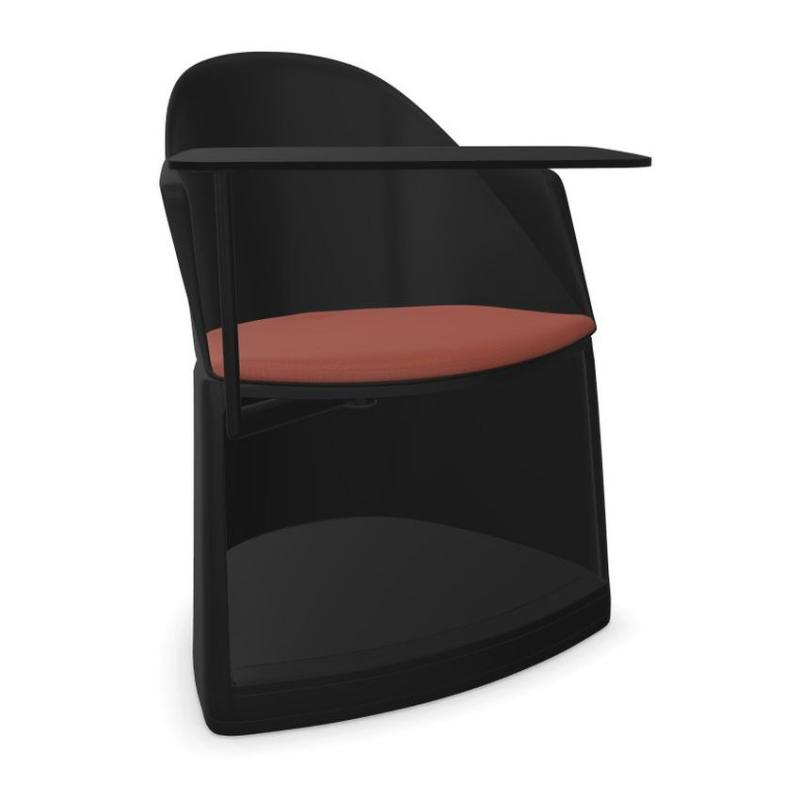 Cila Go Armchair With Storage Base and Castors, With Writing Tablet, Black Shell With Red Seatpad