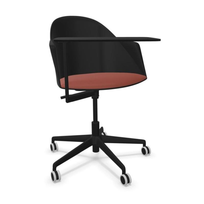Cila Go Armchair With Writing Tablet, Black Shell With Red Seatpad / Black Swivel Base With Castors