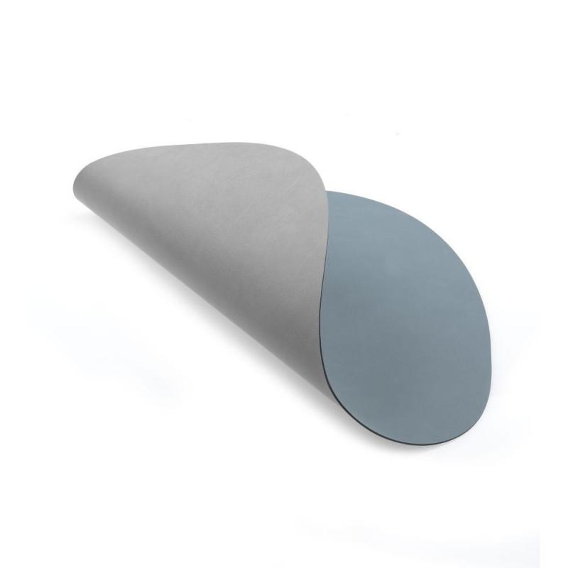 Circle Double Table Mat, M, Nupo Leather, Light Blue / Light Grey