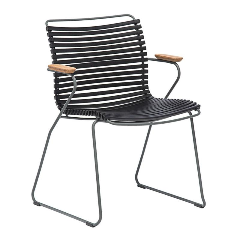 Click Dining Chair With Bamboo Armrests, Low Back