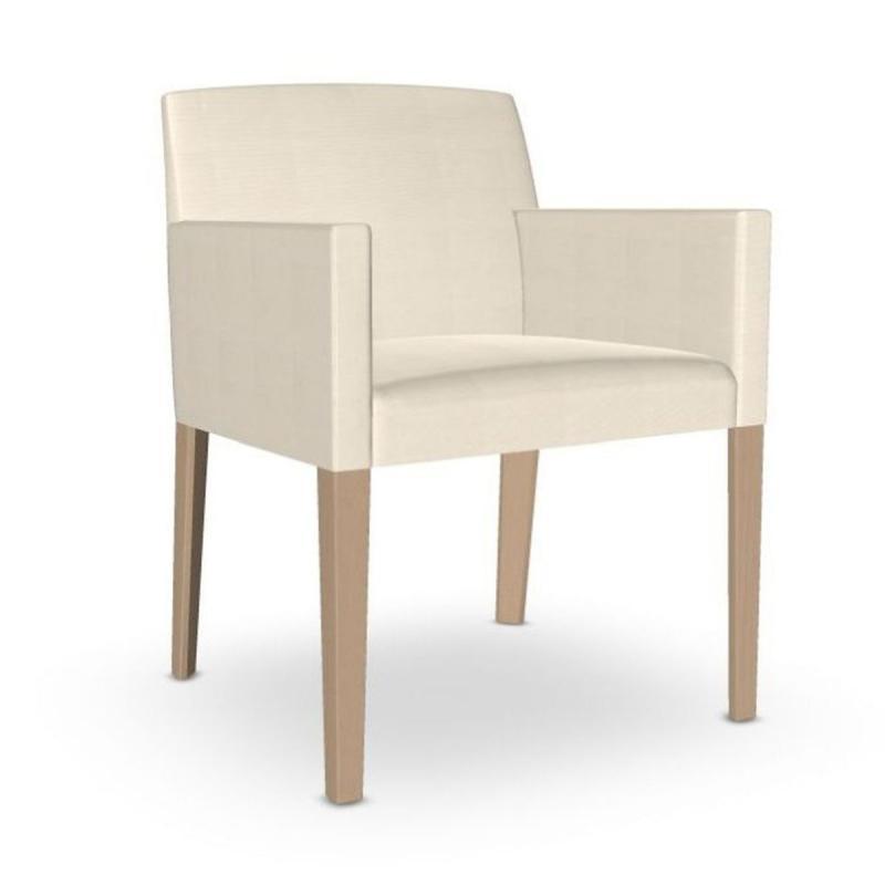 Cloe Armchair, White Upholstery / Wooden Legs