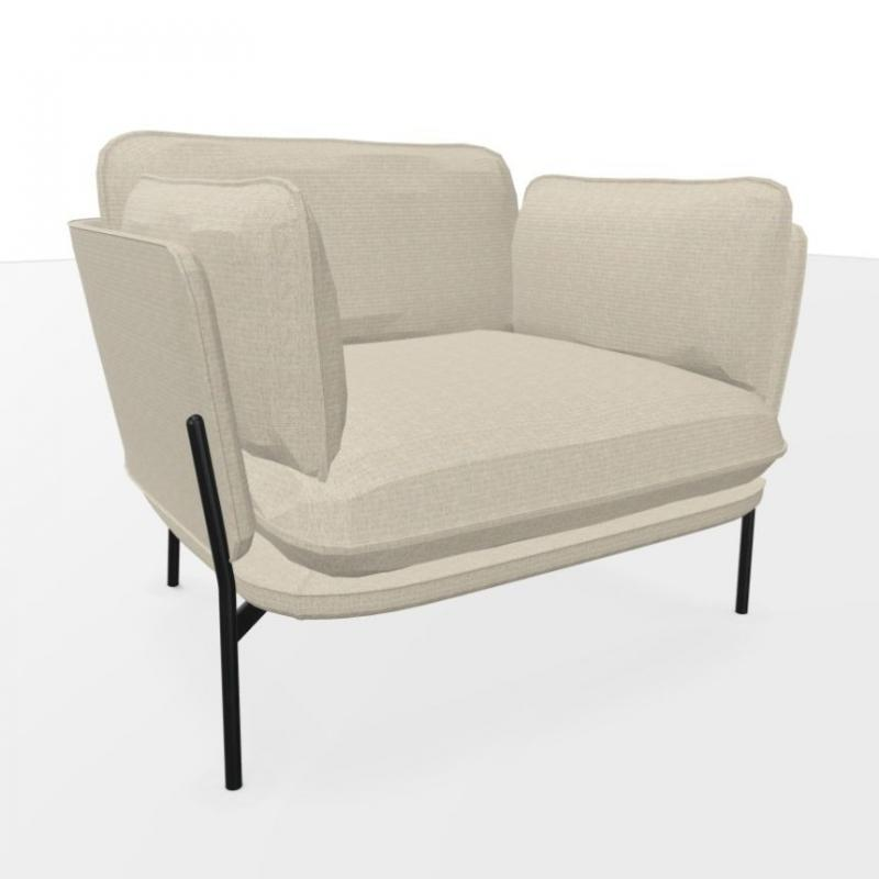 Cloud Lounge Chair LN1, Grey Upholstery / Warm Black Legs