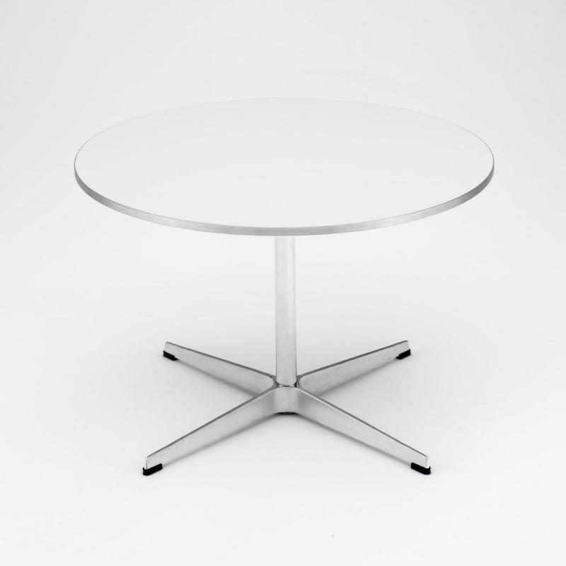 Coffee Table, White Laminate/Satin Polished Aluminium