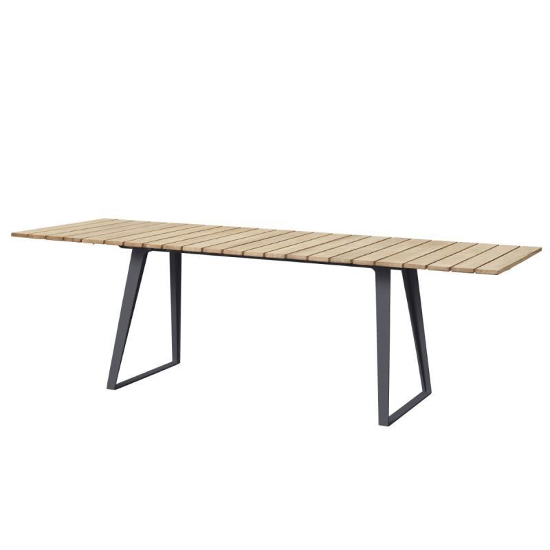 Copenhagen Extendable Dining Table, Teak/Lava Grey