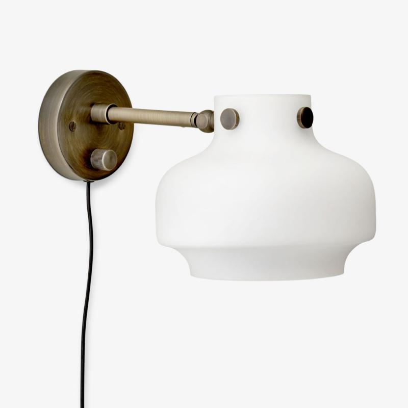 Copenhagen Wall Lamp SC16, Opal Glass & Bronzed Brass