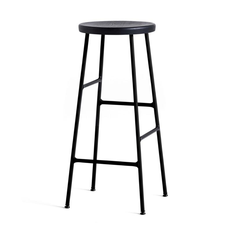 Cornet Bar Stool, High, Soft Black Seat / Black Base