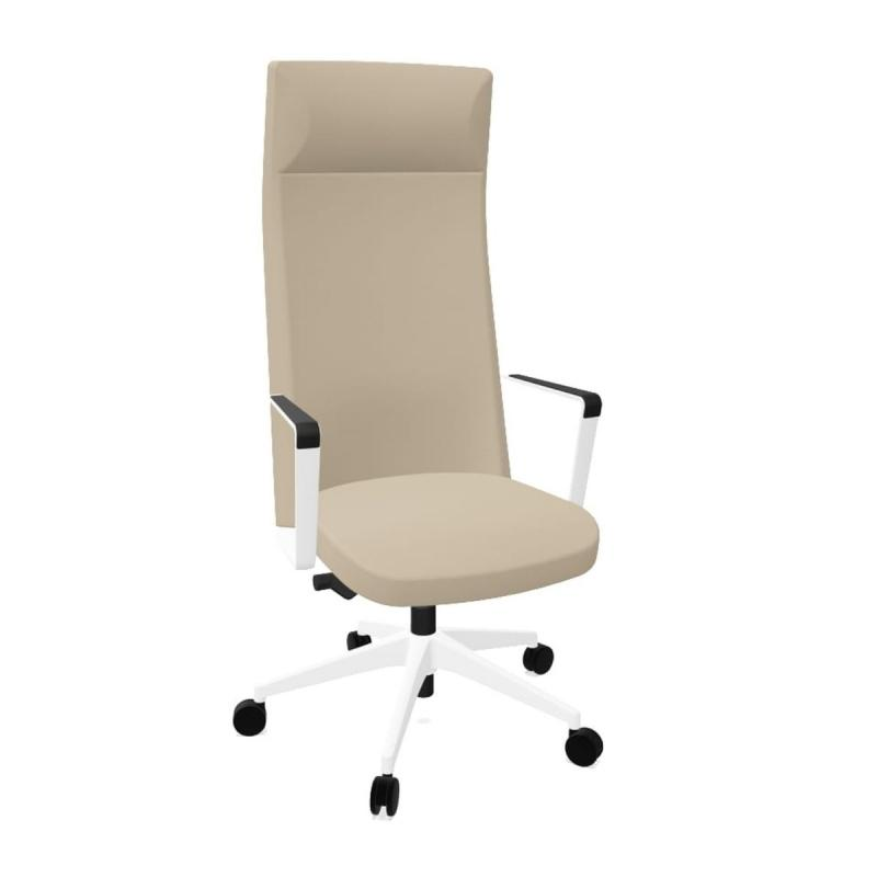 Cron Office Chair, High Back With Headrest, Beige Upholstery / White Base