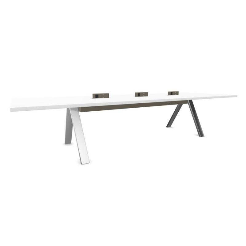 Cross Table, Office, 360x120cm, White Fenix Top / White Metal Legs