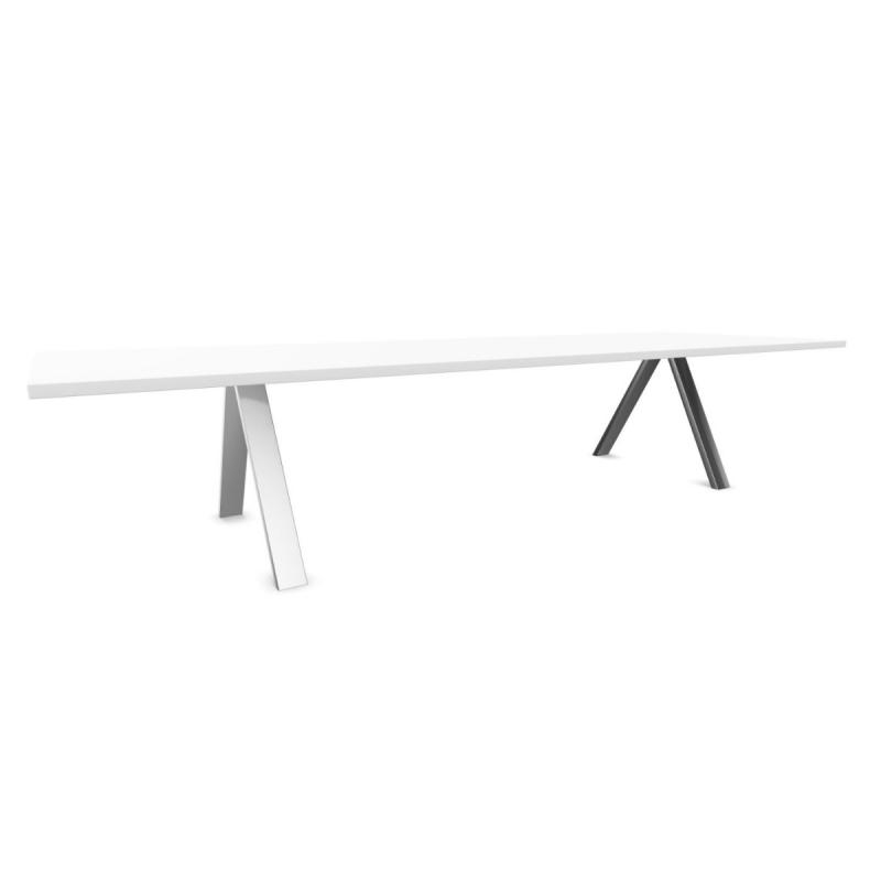 Cross Table, Standard, 360x120cm, White Fenix Top / White Metal Legs