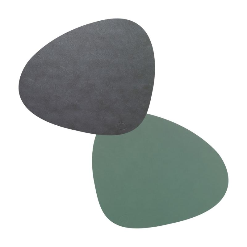 Curve Double Table Mat, L, Cloud Leather / Nupo Leather, Anthracite / Pastel Green