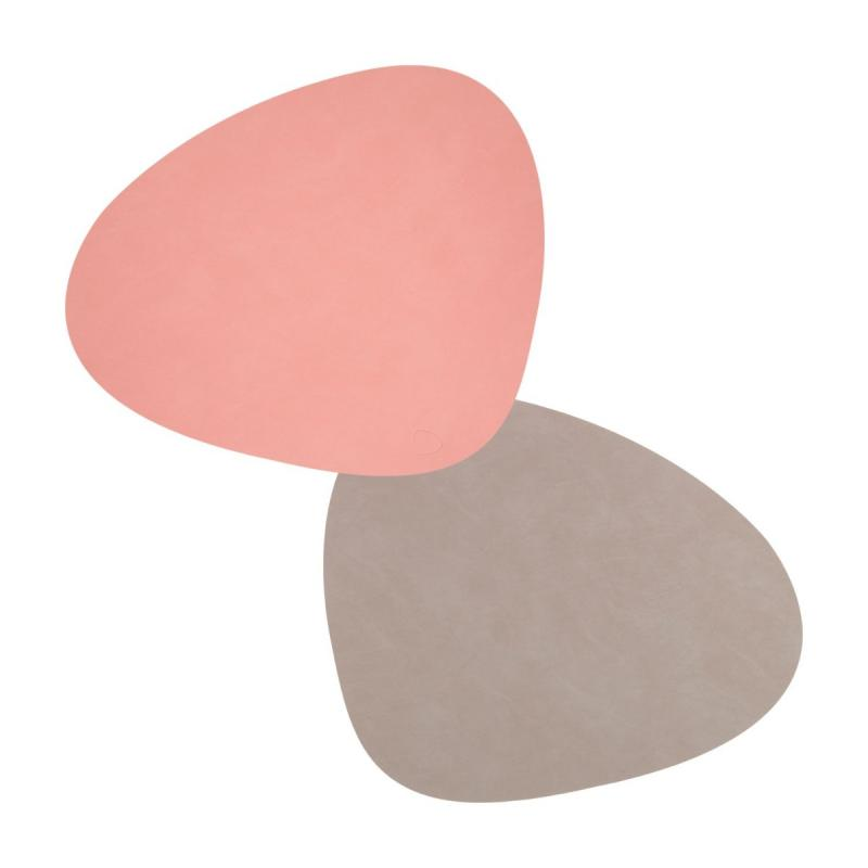 Curve Double Table Mat, L, Nupo Leather, Rose / Light Grey