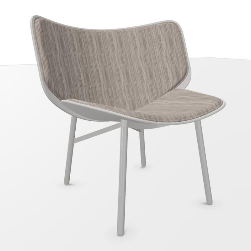 Dapper Lounge Chair, Brown Upholstery / Grey Oak Shell / Grey Steel Base