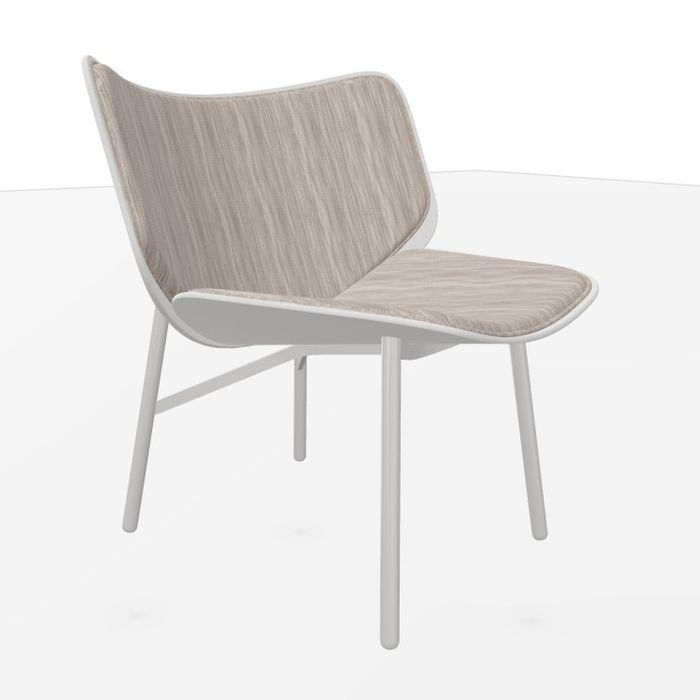 Dapper Lounge Chair, Brown-White Upholstery / Dusty Grey Oak Shell / Dusty Grey Steel Base