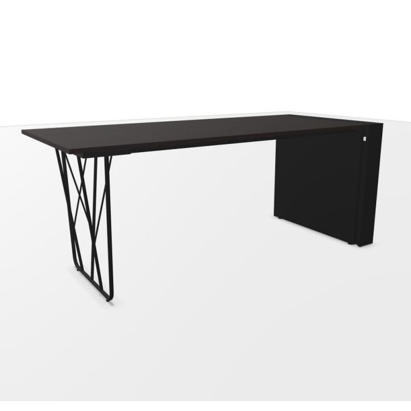 Deck Desk, With 12 cm Lateral Pedestal, 180x80cm, Black Laminate Top / Black Steel Frame