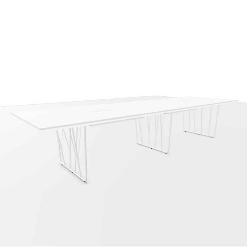 Deck Meeting Table, 360x120cm, White MDF Top / White Steel Frame