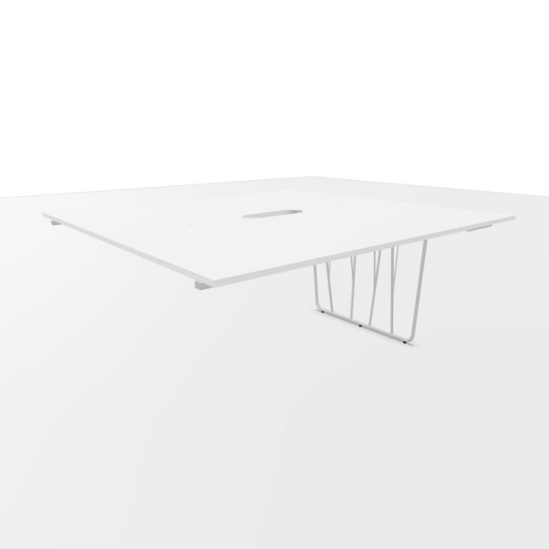 Deck Ending Bench Table, With Tubular Column, 160x160cm, White Laminate Top / White Base