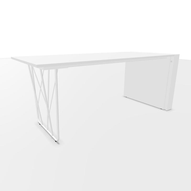 Deck Desk, With 12cm Lateral Pedestal, 180x80cm, White Laminate Top / White Steel Base