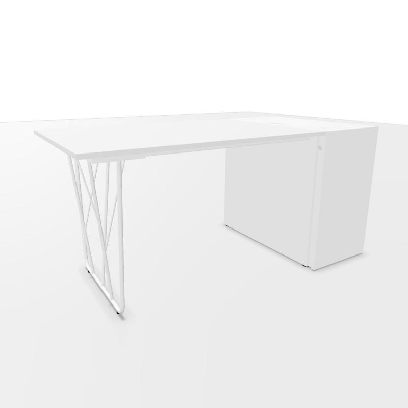 Deck Desk, With 42cm Lateral Pedestal, 160x80cm, White Laminate Top / White Steel Base