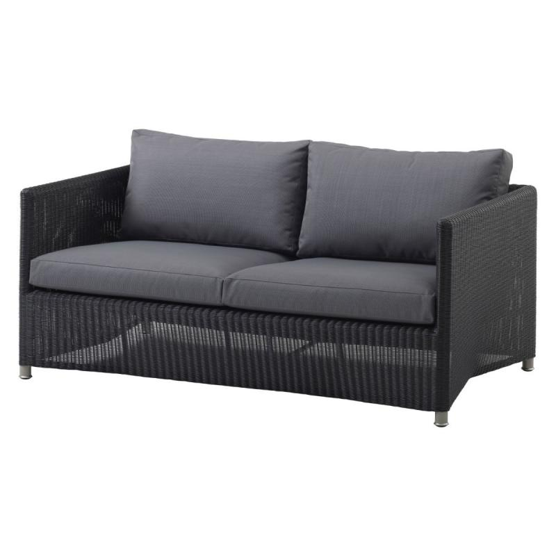 Diamond 2-Seater Sofa With Cushion Set, Weave, Graphite