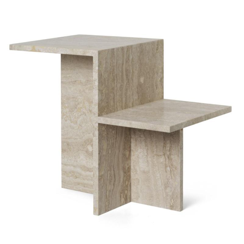 Distinct Side Table, Travertine