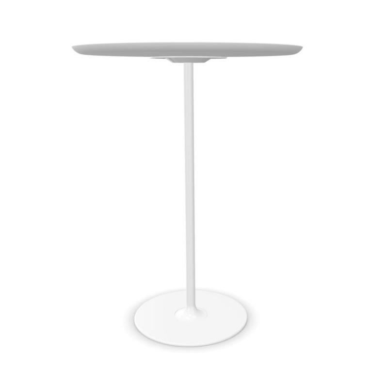 Dizzie High Table, Ø79cm, White Fenix Top / White Steel Base