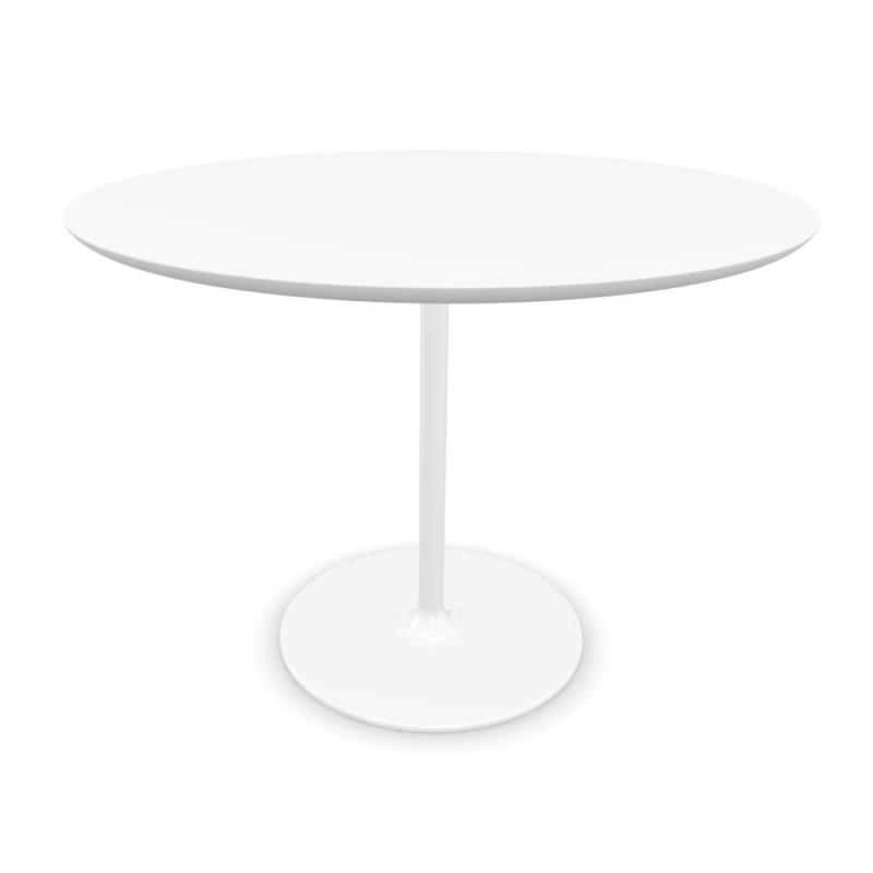 Dizzie Table, Ø100cm, White Fenix Top / White Steel Base