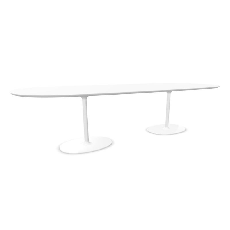 Dizzie Table, 300x124cm, White Fenix Top / White Steel Base