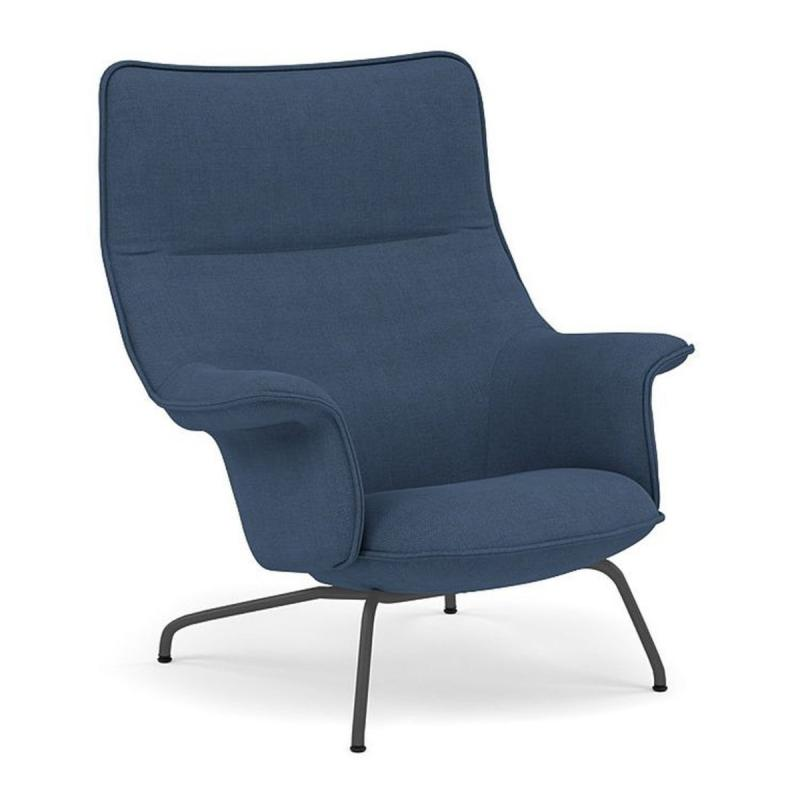 Doze Lounge Chair, Blue Upholstery / Anthracite Black Base