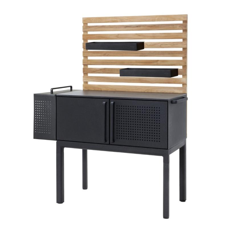 Drop Kitchen Single Module With Table Top (50x100cm) and Teak Wall