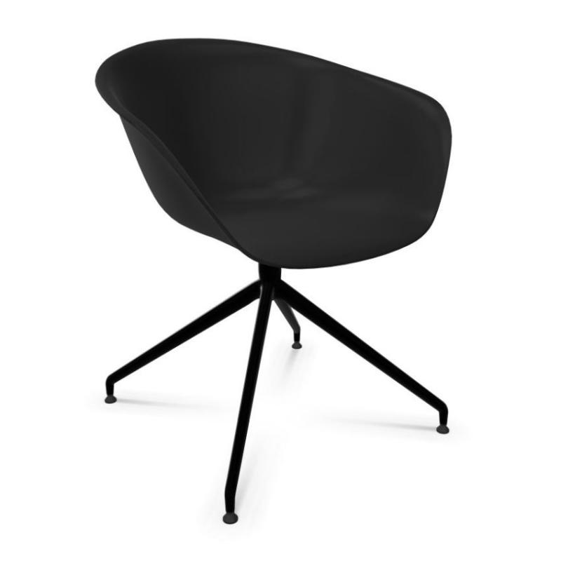 Duna 02 Armchair, Black Shell / Black Swivel Base