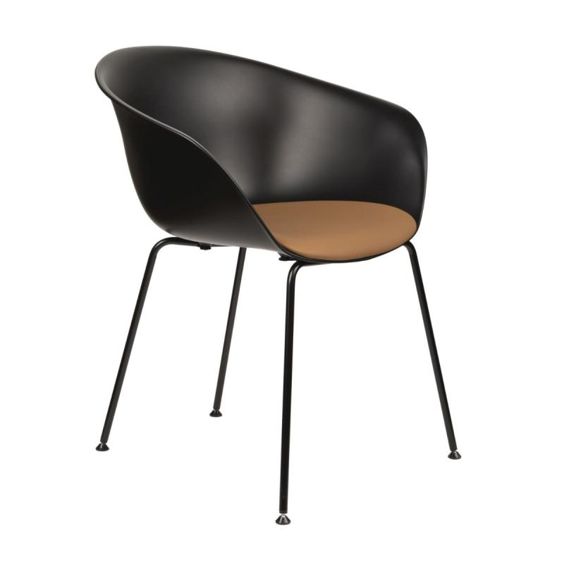 Duna 02 Armchair, Black Shell With Cognac Seatpad / Black Steel Legs
