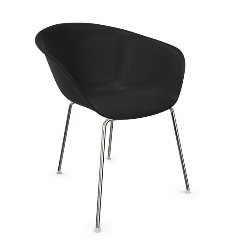 Duna 02 Chair, Black Shell / Chromed Tube Base