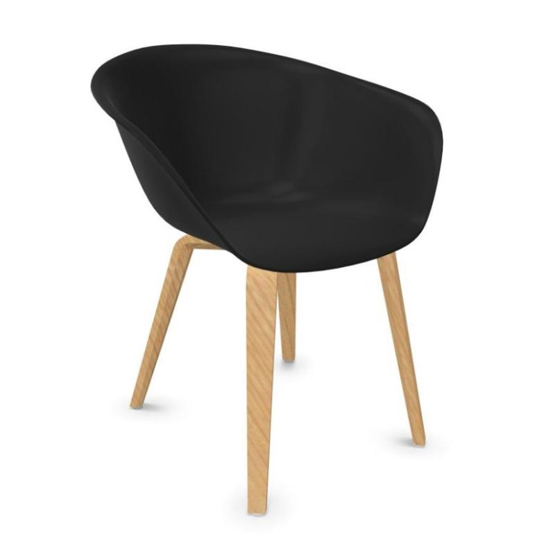 Duna 02 Chair, Black Shell / Wooden Legs