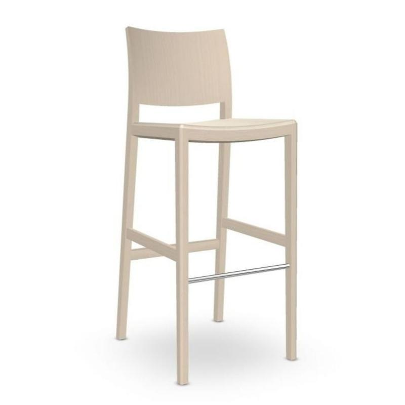 Duos Barstool, White Upholstery / Wooden Legs