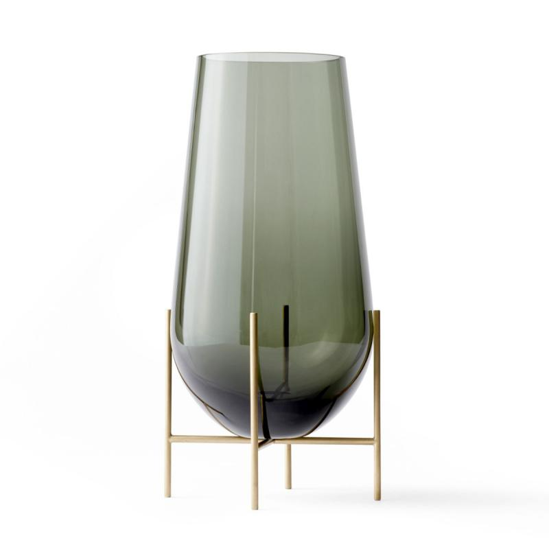 Echasse Vase, L, Smoke/Brushed Brass