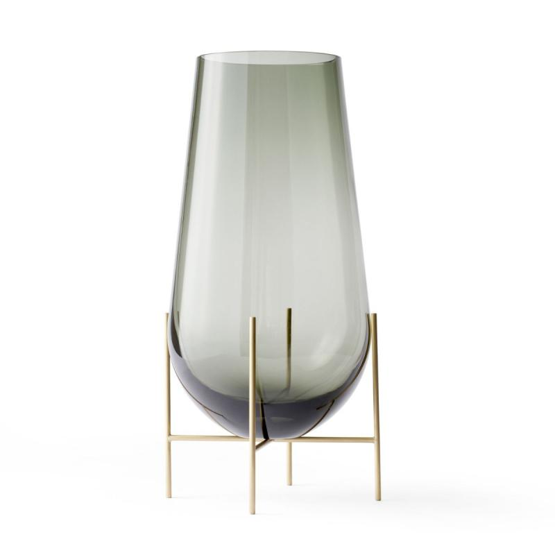 Echasse Vase, S, Smoke/Brushed Brass
