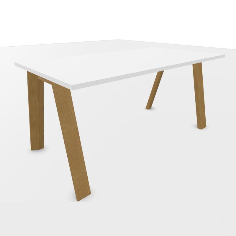 ECO Desk, 160x80cm, White Laminate Top / Oak Base