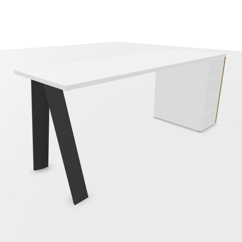 ECO Desk, With Support Pedestal, 180x60cm, White Laminate Top / Anthracite Base