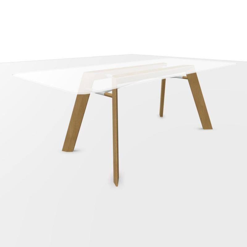 ECO Executive Desk, 200x100cm, Glass Top / Oak Base