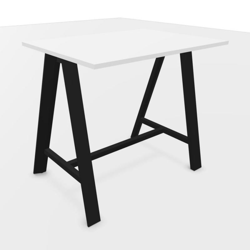 ECO High Auxiliary Table, 120x80cm, White Laminate Top / Black Base