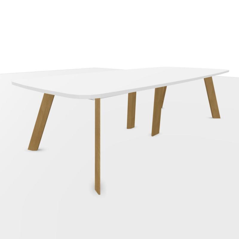 ECO Meeting Table, 300x120cm, White Laminate Top / Oak Base