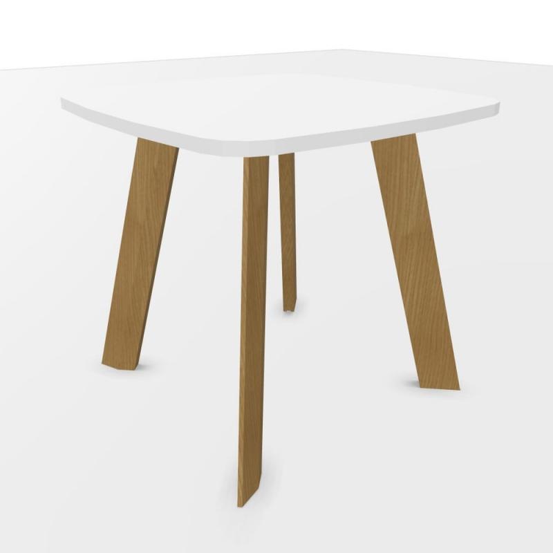 ECO Meeting Table, 80x80cm, White Laminate Top / Oak Base